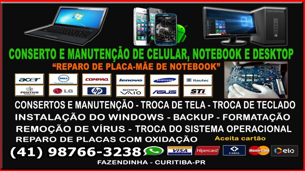 Formatação, manutenção de notebook, celular e desktop, reparo de placa-mãe de notebook